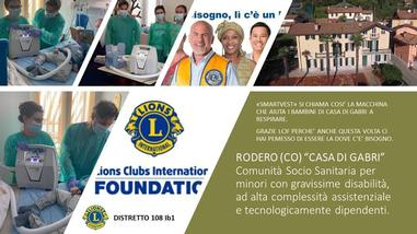 La solidarietà del Lions Club International Foundation entra a Casa di Gabri